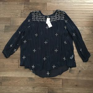 Lucky Brand Floating Embroidered Blouse